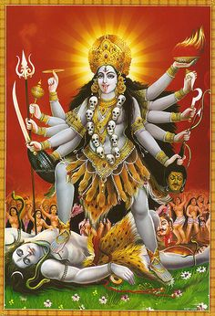 Kali, or the dark goddess, is the fearful and ferocious form of the mother goddess Durga. She stands with one foot on the thigh, and another on the chest of her husband, Shiva.