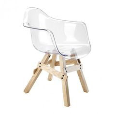 Natural Wood Lucite Icon Armchair