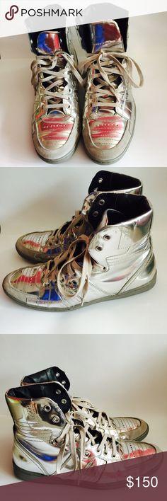 Hugo Boss silver hitop Gently worn once. No wear or tear. Hugo Boss Shoes Sneakers