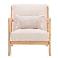 Fabric Oak Sofa Beige (66 x 68 x 75cm) - United States