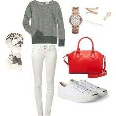 Red Pop: For a casual weekend - Jack Purcell sneakers, Madewell back zipped sweatshirt, Kate Spade Mini Pippa, Michael Kors Rose gold watch.