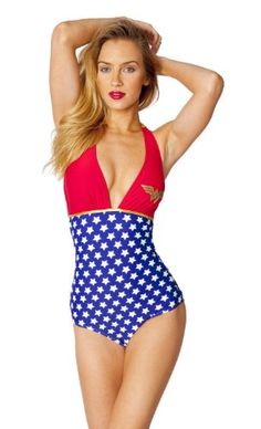 Dc Comics Wonder Woman Halter Plunge One Piece Swimsuit. Sexy