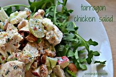Chicken paired with sweet apples and grapes and crunchy almonds, with a low fat tarragon dressing=an amazing chicken salad. Absolutely delicious.