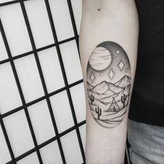 Desert Landscape Tattoo by Ben Doukakis