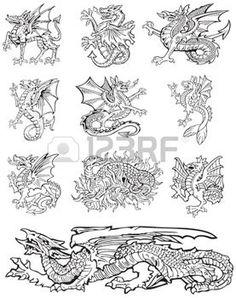 Los pictogramas de la mayor�a de los monstruos her�ldicos - dragones, ejecutado en el estilo de grabado en madera. No dlends, gradientes y accidentes cerebrovasculares. photo