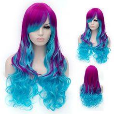 Fuchsia/blue ombre wig