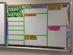 Middle School Ela, Middle School Classroom, First Grade Classroom, Math Classroom, Classroom Ideas, Classroom Agenda Board, Classroom Whiteboard Organization, Teacher Organization, Objectives Board