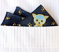 cat pocket square x silk handkerchief Silk Handkerchief, Blue Cats, Silk Scarves, Pocket Square, Wearable Art, Cats Of Instagram, Original Art, Hand Painted, Gold