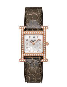 Hermes H hour watch. Hermes Watch, Gold Watch, Bangles, Bracelets, Stylish 09491d414c0