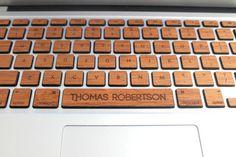 Real Wood Macbook Keyboard Skin with Custom by AlvinIndustries