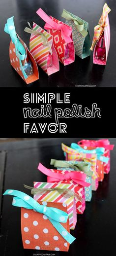 Adorable Little Nail Polish Gift Favor... easy and fast paper crafting instructions here