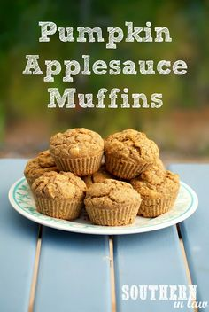 Healthy Pumpkin Applesauce Muffins - gluten free, vegan, low fat, sugar free