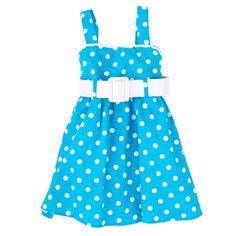 Polka Dot Dress w/ Patent Leather Belt