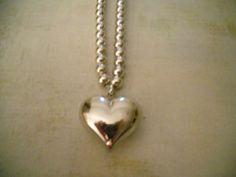 Napier Heart Pendant and Bead Necklace in Silver  by RosieandZoe, $28.00