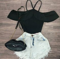 Jeans Shorts outfit Ideas That will Make You look Extra Cute - Cute Teen Outfits, Cute Comfy Outfits, Teen Fashion Outfits, Teenager Outfits, Cute Summer Outfits, Trendy Outfits, Shorts Outfits For Teens, Really Cute Outfits, Outfit Summer
