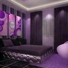 Purple bedroom. Love the funky style