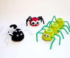 Kids will love these critters, including cute caterpillars and lovely ladybugs. What You'll Need: 1 egg carton; tempera paint (red, green, black); paintbrushes; glue; googly eyes; pipe cleaners (black and brown); white tissue paper; craft needle or push pin; scissors; markers; hot-glue gun, tissue paper (optional) Make It: Bugs can be made from one egg cup or from several cups cut in a row. Cut off the top of the carton, leaving just the bottom. Separate indi...