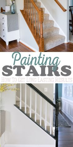 The easiest way to paint an old oak banister including railing and balusters. No priming No chipping and I love the classic look of black and white. Painted Staircases, Staircase Decor, Diy Stairs, Home, Staircase Design, Banisters, Diy Staircase Makeover