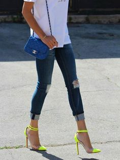 Mixing opposites like clear and over the top bold color is a cool way to make a statement with your shoes!