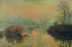 Sun Setting over the Seine at Lavacourt. Winter Effect, 1880 (oil on canvas) by Claude Monet (1840-1926)