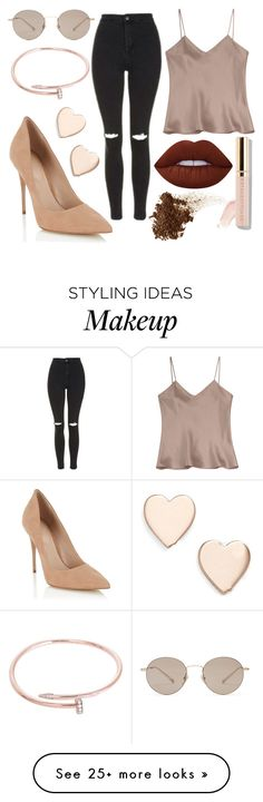 """""""almost beige"""" by mikhaliova on Polyvore featuring Etro, Topshop, Gucci, Lipsy, Cartier, Beautycounter, Lime Crime and Poppy Finch"""