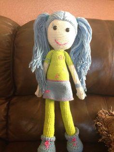 Crochet Doll - Green and Blue Hip Girl