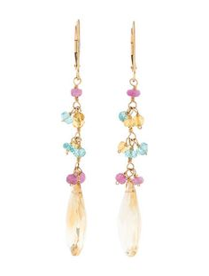 14K yellow gold faceted citrine drop earrings with faceted tourmaline and pink sapphire beads and lever back closure.