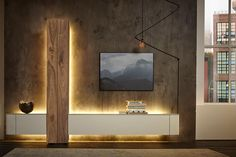 Hulsta With their sleek, contemporary style and their inventive combination of floating cupboards and LED lighting, the Gentis collection from Hulsta is the ideal companion for a modern and sophisticated interior. Living Room Wall Units, Living Room Tv Unit Designs, Ceiling Design Living Room, Modern Tv Room, Modern Tv Wall Units, Modern Living, Tv Unit Decor, Tv Wall Decor, Tv Cabinet Design