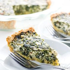 The best Greek spinach pie recipe ever - deliciously cheesy with a flaky crust that's unbelievably low carb & gluten-free. It's a healthy, easy spinach pie you'll make over and over!