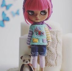Barevný pletený svetr pro vlastní Blythe panenky