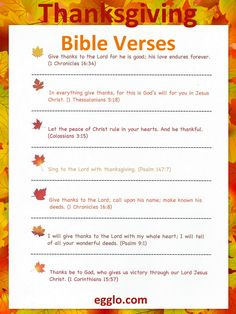 Printable Bible verses for a meaningful Thanksgiving. Egglo.com