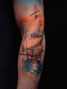 Well, first of all boat tattoo designs can be funny and beautiful. Mens Side Tattoos, Back Tattoos For Guys, Full Back Tattoos, Thigh Tattoo Men, Calf Tattoo, Tattoo Sleeve Designs, Sleeve Tattoos, Balloon Tattoo, Sailor Tattoos