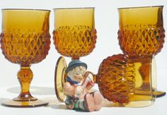 Indiana Glass Four Amber Diamond Point 12 by BonAppetitAntique