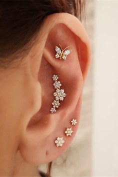 Unique Ear Piercings, Types Of Ear Piercings, Tongue Piercings, Cartilage Piercings, Rook Piercing, Ear Jewelry, Cute Jewelry, Jewelery, Cartilage Earrings