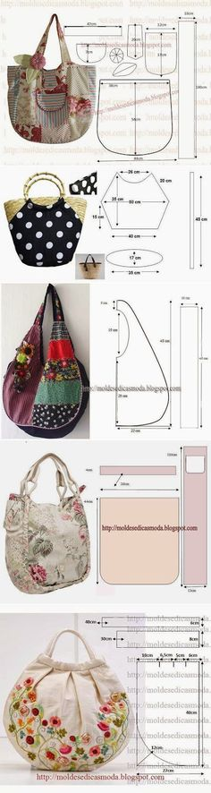 The Fashion templates for measurement: several bags and // ИНЕССА НОВИКОВА Bag Patterns To Sew, Sewing Patterns, Sewing Tutorials, Sewing Crafts, Diy Sac, Diy Handbag, Denim Bag, Fabric Bags, Quilted Bag