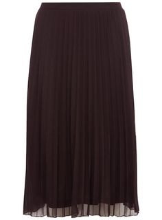 Plum Mesh Pleat Midi Skirt