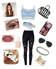 """""""Untitled #113"""" by michelle-martinez890 on Polyvore featuring Lipsy, WithChic, Givenchy, Ray-Ban, Panacea, Essie and Smashbox"""