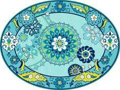 03-2195 - Capri-Blue Oval Platter By Jennifer Brinley