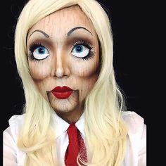 Maquillaje de muñeca de madera