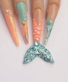 Mermaid Nails by Crazy Nail Art, Crazy Nails, 3d Acrylic Nails, Matte Nails, Sea Nails, Blue Nails, Fancy Nails Designs, Nail Art Designs, Aquarium Nails