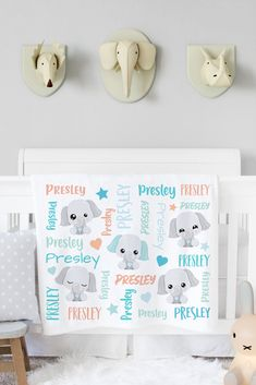 This personalized elephant baby blanket is buttery soft and makes the perfect baby gift for the new mom to be. Our adorable personalized baby blankets make wonderful baby shower gifts, and we think any new mom would adore one! Simply select your size and favorite fabric - lightweight, smooth fleece blanket, silky-soft Minky blanket, cozy-warm sherpa blanket or our swaddle blanket perfect for wrapping newborn babies. ETSY SHOP: AveryJamesStudioShop Elephant Themed Nursery, Baby Boy Nursery Decor, Baby Boy Nurseries, Newborn Baby Gifts, Baby Girl Gifts, Newborn Babies, Elephant Baby Blanket, Minky Baby Blanket, Personalized Baby Blankets