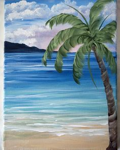 To conclude this one stroke painting course, complete this beautiful tropical landscape painting on canvas, featuring an ocean scene and a palm tree.