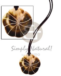 Leather Thong  40mm Black Lip Scallop  Groove Pendant Surfer Necklace