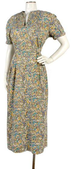 Vintage 1950s Novelty Print Dress Persian Hunting Scene w/Deer & Horses XL XXL #DayDress #40sdress #noveltyprint