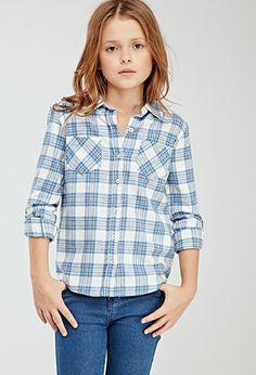Classic Plaid Flannel Shirt (Kids) | FOREVER21 girls - 2000080154