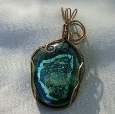 Dichroic Glass Pendant  Copper Wire Wrapped by JewelryArtistry