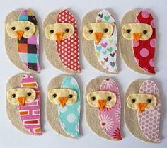 THREE fabric owlss HANDMADE  embellishment / applique. £6.00, via Etsy.