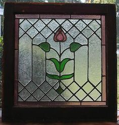 "arts and crafts stained glass window | ... Architectural Stained Glass Window Arts Crafts Art Deco 24""X23"" 