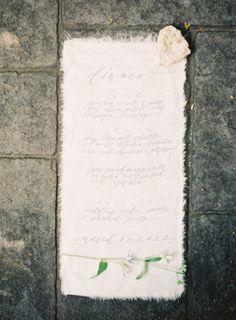 Frayed edge fabric menu