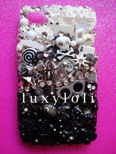 Fade to Black iPhone 4 4s Decoden Phone Case by LUXYLOLI on Etsy